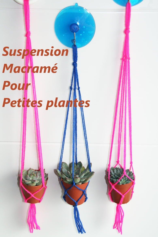 Suspension macramé pour petites plantes