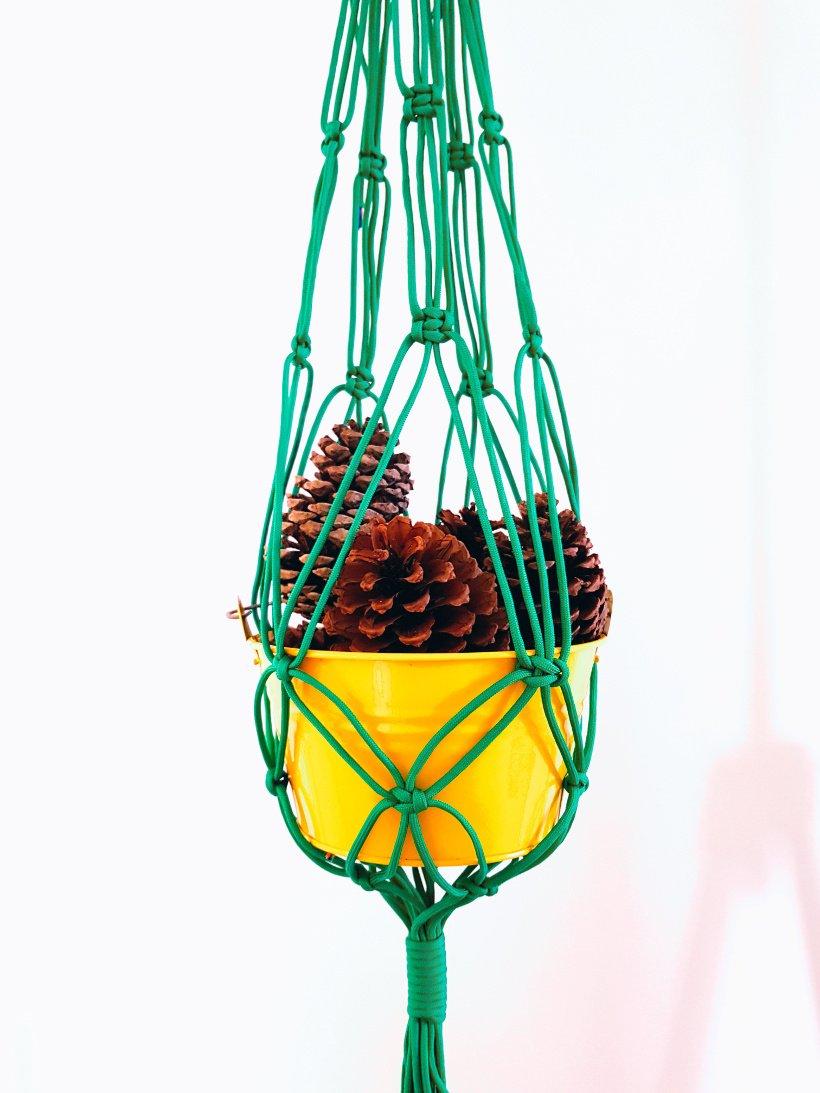 macrame plant hanger outside
